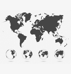set transparent globes earth world map vector image