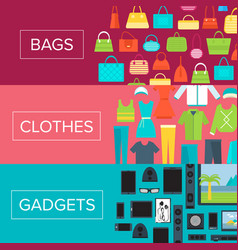 shopping mall flyers set in flat design vector image