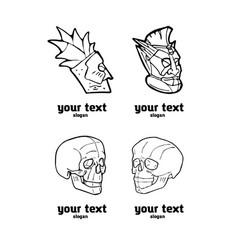 Skull and totem polynesian symbol logo set vector