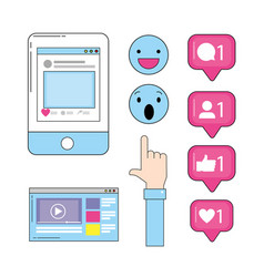 smartphone with website video and social chat vector image
