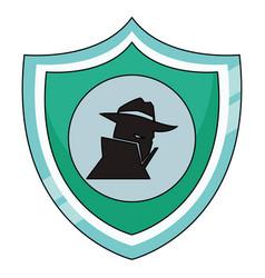 Spyware on shield vector