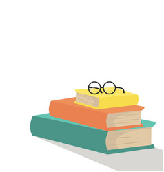 Stack of books with glasses flat design vector