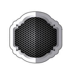 Sticker heraldic metallic frame with grill vector