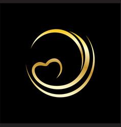 swirl shape valentine logo vector image