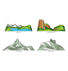 Switzerland landmarks or landscape and travel set vector
