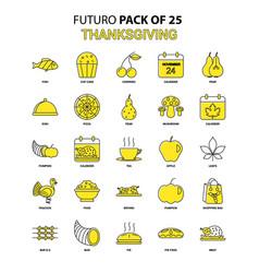 Thanksgiving icon set yellow futuro latest design vector