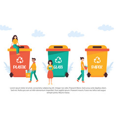 tiny people recycling garbage vector image
