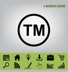 Trade mark sign black icon at gray vector