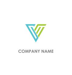 triangle v initial company logo vector image