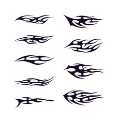 Tribal tattoo collection set flame tattoo totem vector