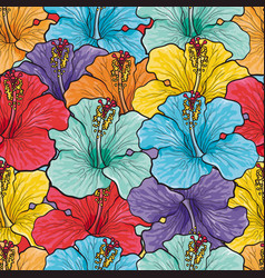 Tropical flowers seamless pattern with sketch vector
