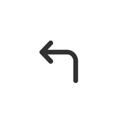 turn left arrow icon black isolated on white vector image