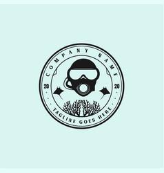 vintage retro scuba diving sport club badge emblem vector image