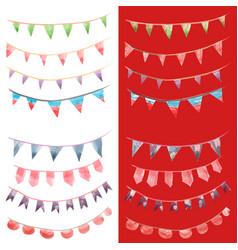 Watercolor vintage flags garlands set in party vector