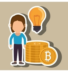 Woman bit coin idea vector