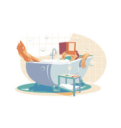 woman relaxing in bath vector image