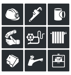 Work plumber at home Icons Set vector image