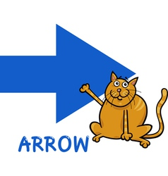 arrow shape with cartoon cat vector image vector image