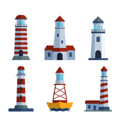 cartoon flat lighthouse searchlight tower for vector image