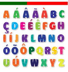 cute funny childish portuguese alphabet vector image