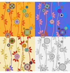 Four Patterns with Japanese Temari Balls vector image vector image