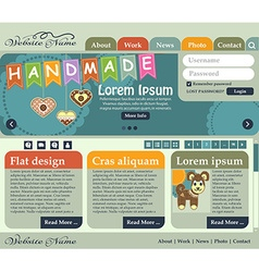 Web design elements in retro style shades of green vector image
