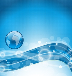 Abstract wavy water background with earth symbol vector image