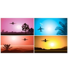 Colorful Airplane Travelling Set vector image