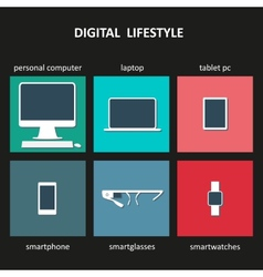 Digital devices icons vector image vector image
