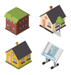 Isometric Retro Flat House Icons and Symbols set vector image vector image