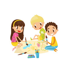 little kids sitting on the floor and drawing vector image