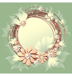 Scrapbooking floral frame with flowers pearls and vector image