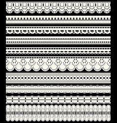set of seamless lace borders ten white openwork vector image vector image