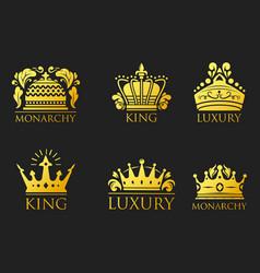 crown king vintage premium golden badge heraldic vector image