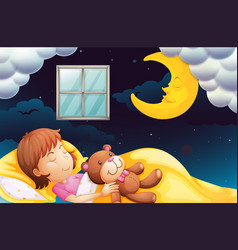 girl sleeping at nighttime vector image vector image