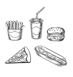 Pizza burger french fries hot dog and soda vector image vector image