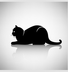 silhouette of a cat lying vector image vector image