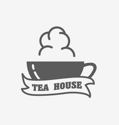 tea house logo label or sign design concept with vector image vector image