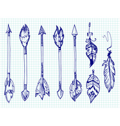 ballpoint pen feathers and arrows set on notebook vector image