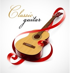 classic guitar as clef simbol vector image vector image