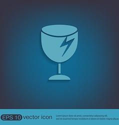 fragile glass symbol logistics icon vector image vector image