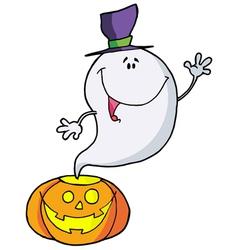Happy Ghost Pumpkin Leaves vector image