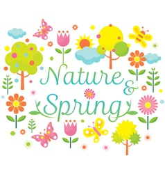 Spring Season Object Icons Heading vector image