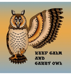 Wise owl lifted wing and paw vector image