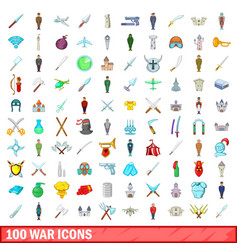 100 war icons set cartoon style vector