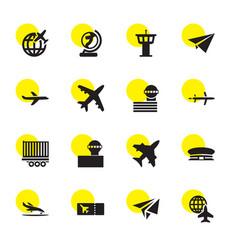 16 plane icons vector image