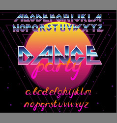 80 s retro alphabet font typography vector