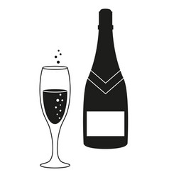 a glass and a bottle of champagne icon vector image