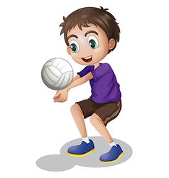 A young boy playing volleyball vector