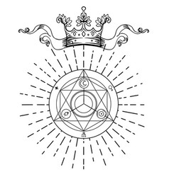 Alchemy symbol with royal crown sacred geometry vector